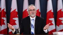 Auditor General of Canada Michael Ferguson holds a press conference at the National Press Theatre regarding the 2016 Fall Reports in Ottawa on Tuesday, Nov. 29, 2016. (Sean Kilpatrick/THE CANADIAN PRESS)