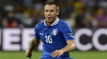 Italy's Antonio Cassano runs for the ball during their Euro 2012 quarter-final soccer match against England at Olympic Stadium in Kiev, June 24, 2012.          (Reuters)