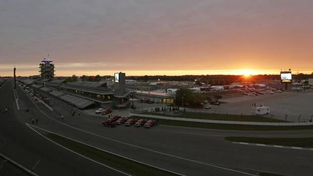 The sun rises over the grounds of the Indianapolis Motor Speedway in Indianapolis, Sunday, May 26, 2013. The 97th Indianapolis 500 starts at noon. (AJ Mast/AP)
