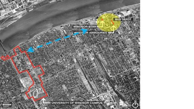 In a bold move, the University of Windsor plans to expand its campus to the city's downtown. This map shows the existing campus and the downtown in relation to the Detroit River waterfront. Work will begin this summer on a $70-million downtown campus – crafted from heritage properties. (CS&P Architects Inc.)
