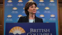 Premier Christy Clark answers questions from the media during a press conference from her office at Legislature in Victoria, B.C., on March 13, 2017. (CHAD HIPOLITO/THE GLOBE AND MAIL)