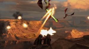 An emplaced gun on a Terran cruiser cuts Zerg fliers to pieces.