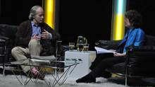 Richard Ford in conversation with Eleanor Wachtel on Wednesday night: Note the pink socks. (IFOA)