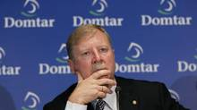 Domtar Corporation's president and CEO John Williams speaks to the media following the pulp and paper company's annual shareholders meeting on May 4, 2011. (SHAUN BEST/REUTERS)