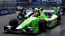 Andretti Autosport driver James Hinchcliffe of Canada competes in the Honda Indy car race in Toronto July 8, 2012. (MARK BLINCH/REUTERS)