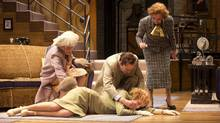 """Jennifer Phipps as Lady Saltburn, Julia Course as Daphne Stillington, Steven Sutcliffe as Garry Essendine, and Mary Haney as Monica Reed in """"Present Laughter"""" (David Cooper)"""