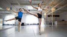 Jennifer Nichols of the Extension Room and runner Cory Pagett work out in Toronto, Ont. Thursday, June 27, 2013. (Kevin Van Paassen/The Globe and Mail)