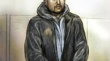 Brampton, Ont: March 30 2011 - Mohamed Hersi is seen in this artist's rendition during court proceedings in a Ontario Court of Justice courtroom in Brampton, Ont., Wednesday, March 30, 2011. (Natalie Berman For The Globe and Mail)