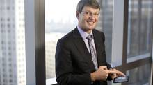 RIM CEO Thorsten Heins with the new Blackberry mobile device, BB10 in New York City, Tuesday, January 29, 2013 (Michael Falco for the Globe and Mail)