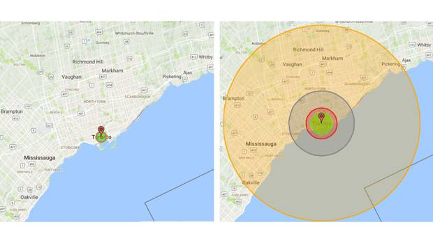 A bomb's explosive force is measured in kilotons, the equivalent of 1,000 tons of TNT; a thousand kilotons equals one megaton. Here's a simulation from the Nukemap tool, created by science historian Alex Wellerstein, of two detonations centred on Toronto's City Hall. On the left is the radius of destruction from a 15-kiloton device, the same yield as 'Little Boy,' the bomb dropped on Hiroshima in 1945. On the right is a 15-megaton yield, or the size of 'Castle Bravo,' the largest U.S. nuclear device ever tested. The smaller device produces a fireball (the tiny yellow circle at the centre) roughly as big as the Eaton Centre, whereas the bigger one's fireball would stretch from St. Clair Avenue to the Toronto Islands and from Little Portugal to Leslieville. The largest circle is the thermal radiation radius, where any humans who aren't killed immediately would suffer third-degree burns.