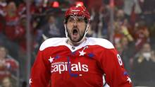 Alex Ovechkin celebrates after scoring the game-winning goal. (Patrick Smith/Getty Images)
