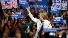 Democratic presidential candidate Hillary Clinton addresses a rally during a campaign event on Super Tuesday in Miami. (RHONA WISE/AFP/Getty Images)