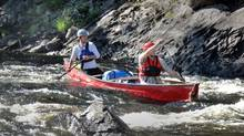 Guides Dan Caldwell and Nick Fraser navigate through the Petawawa rapids (Roy MacGregor/The Globe and Mail)
