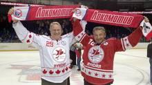 Ken Dryden and Vladislav Tretiak photographed inYaroslavl. (Scott MacPherson for The Globe and Mail)