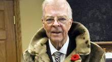 Lieutenant-Governor John Crosbie sports a seal-skin coat in St. John's Nov. 4, 2009. (ANDREW VAUGHAN/The Canadian Press)