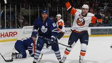 John Tavares of the New York Islanders celebrates scoring in the second period against the Toronto Maple Leafs during their game in Uniondale, N.Y. on Wednesday. (Bruce Bennett/2009 Getty Images)