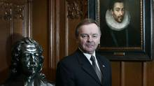 Photo shows Senator Serge Joyal in the Salon de la Francophonie on Parliament Hill Jan. 15, 2007 with a portrait of Henri III and a bust of Samuel Champlain by Alfred Laliberte. Both works of art were donated by Joyal. (Bill Grimshaw for The Globe and Mail)