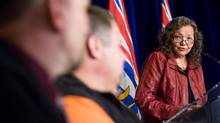 Tribal Chief Liz Logan speaks to fellow dignataries at a Treaty 8 First Nations agreement signing at B.C. Legislature in Victoria on Thursday, May 15, 2014. (GEOFF HOWE For The Globe and Mail)