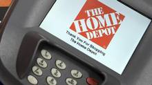 A closeup of an electronic payment station is shown at a Home Depot store in Daly City, Calif., in this 2012 file photo. (BECK DIEFENBACH/REUTERS)