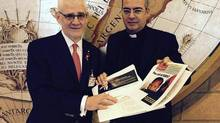 Dr. Julio Montaner meets with Monsignor Guillermo Karcher, a Vatican official and close confidant of Pope Francis. (BC-CfE)