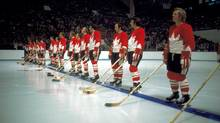Team Canada players line up before a game during the 1972 Summit Series. (The Hockey Hall of Fame)