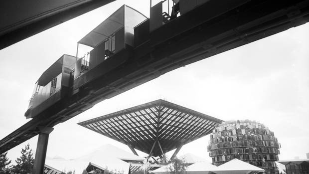 The fairgrounds of Expo 67 are seen prior to its opening in April, 1967.