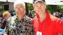 The late Robert van Kessel, right, played host to thousands at his Rib 'n' Roll fundraisers, including former NHL player Andy Bathgate.