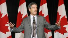 Liberal Leader Michael Ignatieff takes questions after speaking to a luncheon audience hosted by the Saint John Board of Trade on Aug. 13, 2009. (Noel Chenier/The Canadian Press)