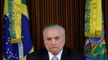 Brazil's president Michel Temer reacts during a meeting in Brasilia, Brazil, on April 11, 2017. (UESLEI MARCELINO/REUTERS)