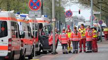 Ambulances are pictured on May 7, 2017 in Hannover during the evacuation operation. (PETER STEFFEN/AFP/Getty Images)