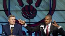 MLSE President and CEO Tim Leiweke and Toronto Raptors NBA general manager Masai Ujiri at a news conference in Toronto on Tuesday. (Peter Power/The Globe and Mail)