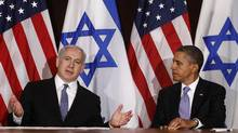 U.S. President Barack Obama (R) meets Israel's Prime Minister Benjamin Netanyahu at the United Nations in New York Sept. 21, 2011. (KEVIN LAMARQUE/REUTERS)
