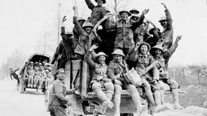 Canadian soldiers return from Vimy Ridge in this 1917 photo.