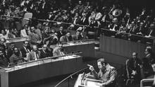 In this file photo from Oct. 12, 1979, Cuban President Fidel Castro speaks at the United Nation. (Paul Hosefros/The New York Times)