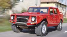 A top speed of 210 km/h and a 0-100 km/h time of eight seconds might sound a bit lethargic for a V-12-engined mid-1980s Lamborghini but road testers of the time thought the numbers were pretty startling considering the new LM02 stood almost two metrers tall and weighed in at three tons. (Lamborghini)