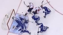 Brett Connolly #10 of the Washington Capitals is stopped by a sprawling Frederik Andersen #31 of the Toronto Maple Leafs in Game Six of the Eastern Conference Quarterfinals during the 2017 NHL Stanley Cup Playoffs, April 23, 2017 in Toronto. (Claus Andersen/Getty Images)