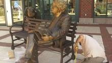 Sculpture of Northrop Frye in New Brunswick.