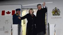 Prime Minister Stephen Harper and wife Laureen depart Ottawa for Israel on Saturday, Jan. 18. (Sean Kilpatrick/THE CANADIAN PRESS)