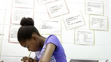 Kayvern Lewis, 12, completes a test to determine her math and English skills on Aug. 31, 2012. (FERNANDO MORALES/THE GLOBE AND MAIL)