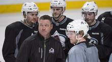 Colorado Avalanche head coach Patrick Roy leads a practice at the Bell Centre Monday, March 17, 2014 in Montreal. (Paul Chiasson/THE CANADIAN PRESS)