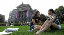 McGill third year students Natalie Arshat and Ana Dokoba (L) talk together on McGill grounds on September 4, 2011. (Christinne Muschi for The Globe and Mail/Christinne Muschi for The Globe and Mail)