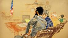 A courtroom sketch shows Omar Khadr attending jury selection at his war crimes trial on Aug. 11. (JANET HAMLIN/AFP/Getty Images)