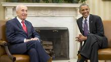 President Barack Obama and Israeli President Shimon Peres in the Oval Office of the White House on Wednesday. (Pablo Martinez Monsivais/AP)