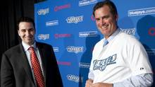 An Oct. 25, 2010, file photo shows Toronto Blue Jays general manager Alex Anthopoulos, left, and the baseball club's newly appointed manager John Farrell (at a Toronto news conference. (FRED THORNHILL/REUTERS)