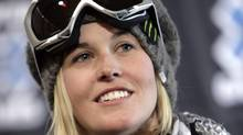 Sarah Burke of Canada looks on during a news conference at the Winter X Games on Wednesday, Jan. 21, 2009 (CP)