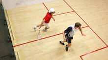 Racquetball players at the Ontario Racquet Club in Mississauga. (Charla Jones/The Globe and Mail)