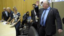 Rob Ford, right, has asked for a detailed financing plan for a subway into Scarborough. (J.P. MOCZULSKI/THE GLOBE AND MAIL)