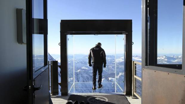 Are you brave enough to handle Step into the Void? The new attraction at the top of Aiguille du Midi peak in Chamonix, France, is not for the faint of heart. (ALEXIS MORO/AP)