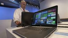 A Dell laptop computer running Windows 10 is on display at the Microsoft Build conference in San Francisco, Wednesday, April 29, 2015. (Jeff Chiu/AP)