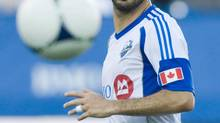 Montreal Impact's Marco Di Vaio keeps his eyes on the ball during first half MLS action against Sporting Kansas City in Montreal, Wednesday, July 4, 2012. (Graham Hughes/THE CANADIAN PRESS)